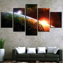 5 Piece Canvas Art Islam Allah Quran From Outter Space Paintings on Wall for Home Decorations Decor Artwork