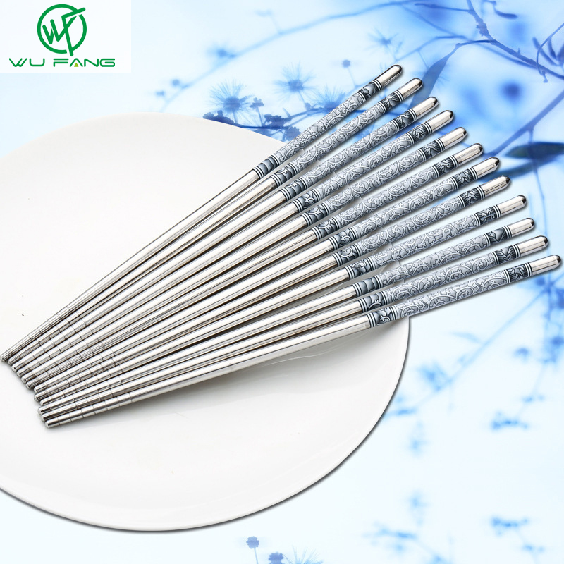5 Pairs Durable Food Stick Chinese Traditional Flowers Pattern Stainless Steel Chopsticks Tableware Christmas Gifts 8.8inch image
