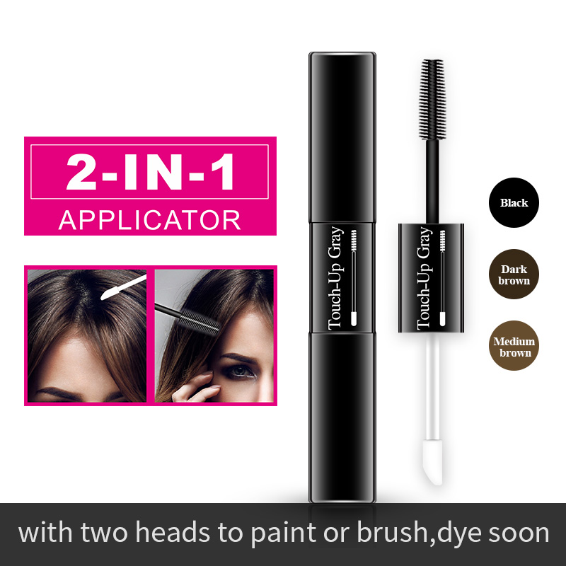 One-Time Hair dye Pen  Instant Gray Root Coverage Hair Color white to dark brown black 2 brushes soft head easy apply temporary