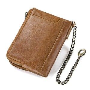 Image 2 - CONTACTS جلد أصلي للرجال محفظة بشريحة RFID مع مكافحة سرقة سلسلة حاملي بطاقة الذكور محفظة صغيرة مزدوجة سستة محفظة نسائية للعملات المعدنية خمر