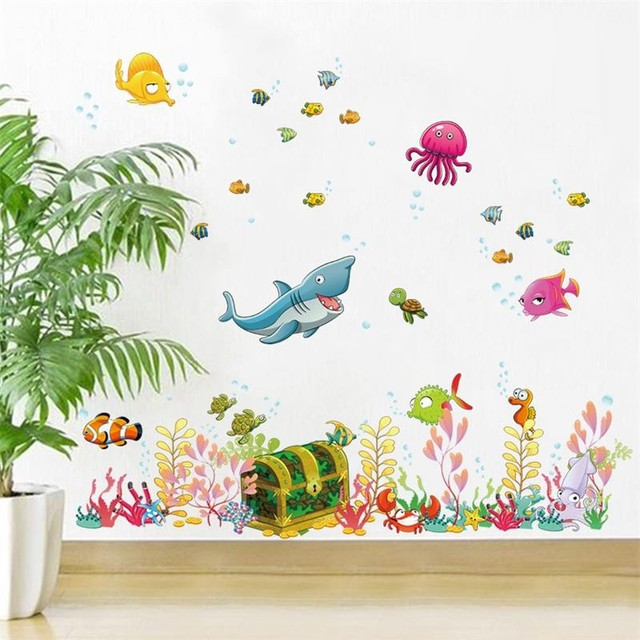 Cartoon Underwater World Wall Stickers For Kids Room Decorations Diy Removable Boys Girls Wall Decal Girls