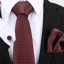 7.5cm wide Men Tie Black Red Geometric Silk Jacquard Ties For Hanky Cufflink Set Business Wedding Necktie Free Shipping