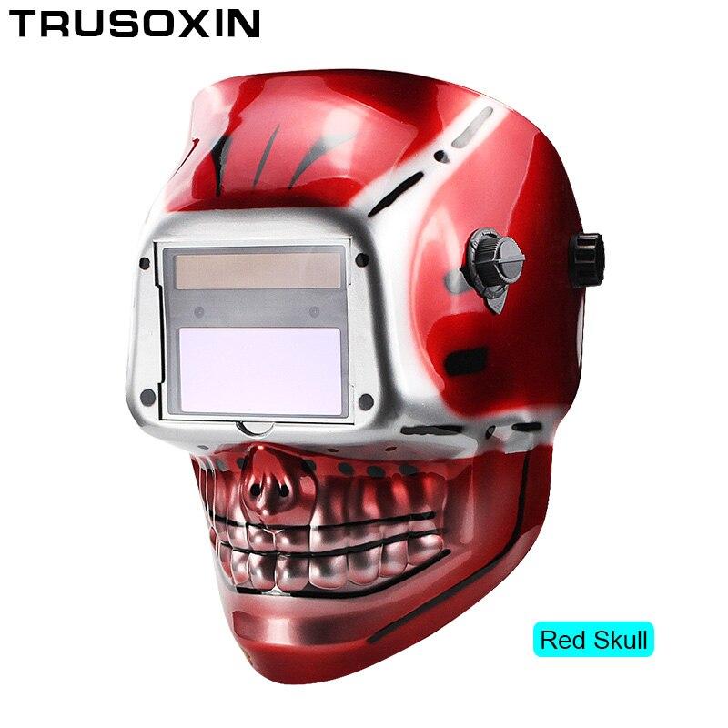 Солнечная батарея Li, внешний контроль, самозатемняющийся сварочный шлем/сварочные очки/Сварочная маска, Сварочная маска - Цвет: Red Skull
