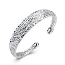 hot deal buy 2015 opening bangle carved flower925 silver bracelet 925 silver jewelry fashion bracelet pearl bracelet smtb199 embroidery firew