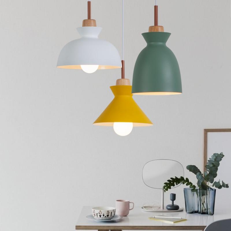 Viseče luči za nordijski minimalizem, E27 7 barvna svetilka za les, - Notranja razsvetljava