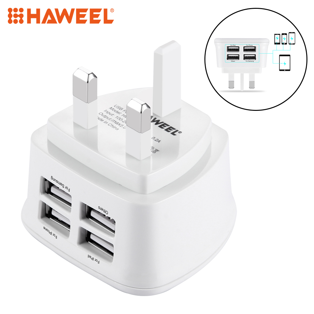 BS Certification HAWEEL UK Plug 4 Ports USB Max 3.1A Universel Voyage Chargeur pour iPhone, iPad, Galaxy, Huawei, Xiaomi, comprimés