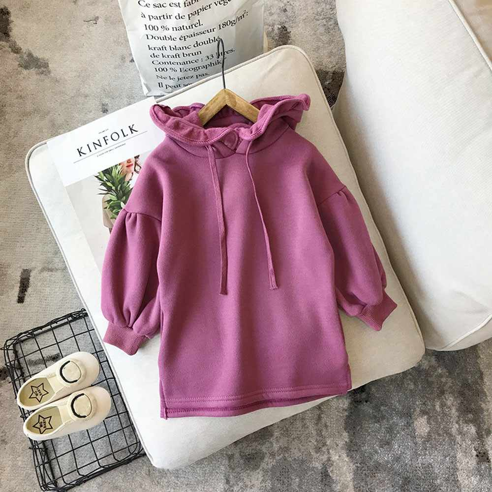 Dress For Girls Long Sleeve Hooded Party Clothes Toddler Baby Kids Girls Solid Ruched Thick Warm Pullover Dress Tops Clothes