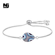 NJ Water Drop Shape Charm Bracelets Vintage Tribe Style Women Jewelry Zircon Cubic Adjustable Trendy Chain