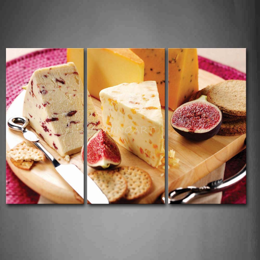 3 Piece Wall Art Painting Various Cheese And Fruit With font b Knife b font Picture