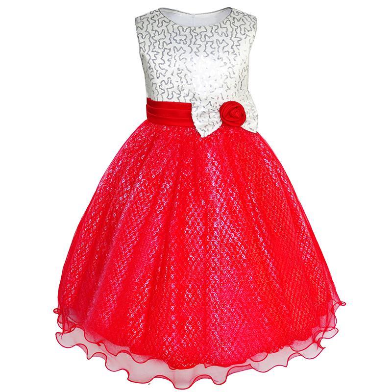 Flower Girl Dress Glitter Sequin Wedding Bridesmaid Pageant 2018 Summer Princess Party Dresses Children Clothes Size 4-14 1