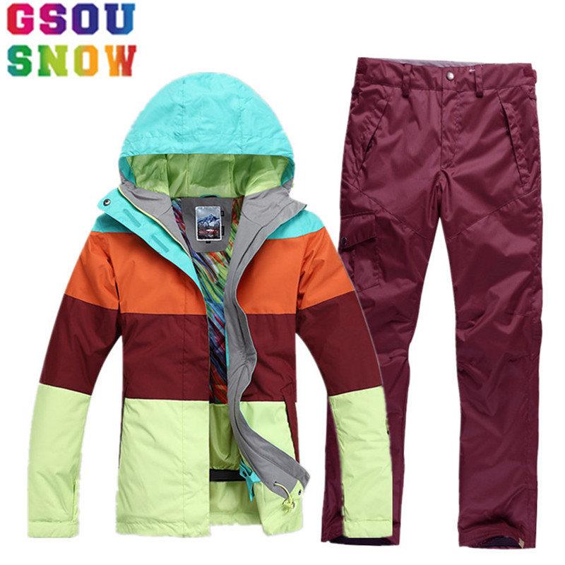 aliexpress.com - GSOU SNOW Brand Ski Suit Women Ski Jacket Pants Female  Waterproof Skiing Suits Snowboarding Coat Winter Outdoor Sport Clothing -  imall.com 505a87375