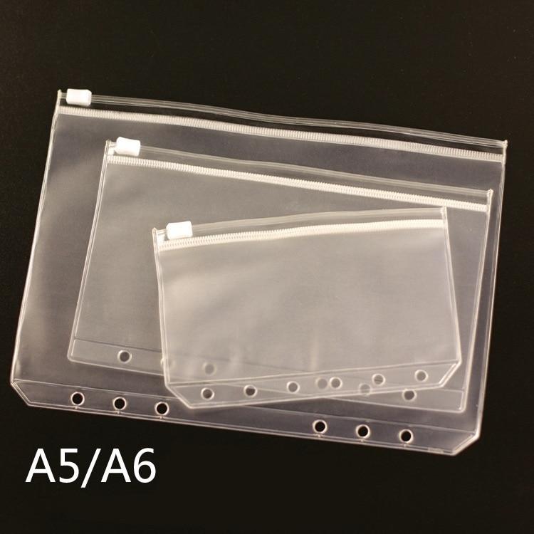 5pcs/ A5 A6 A7 PVC Presentation Binder Folder Zipper Receive Bag Concise Diario Planner's Spiral Filing Products Card Holder Bag