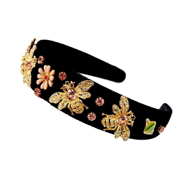 Gold Bee Headband for Women Ladies Black Hair Accessories Wedding Bride Flower Hairband Boho Wide Korean Style Head Band