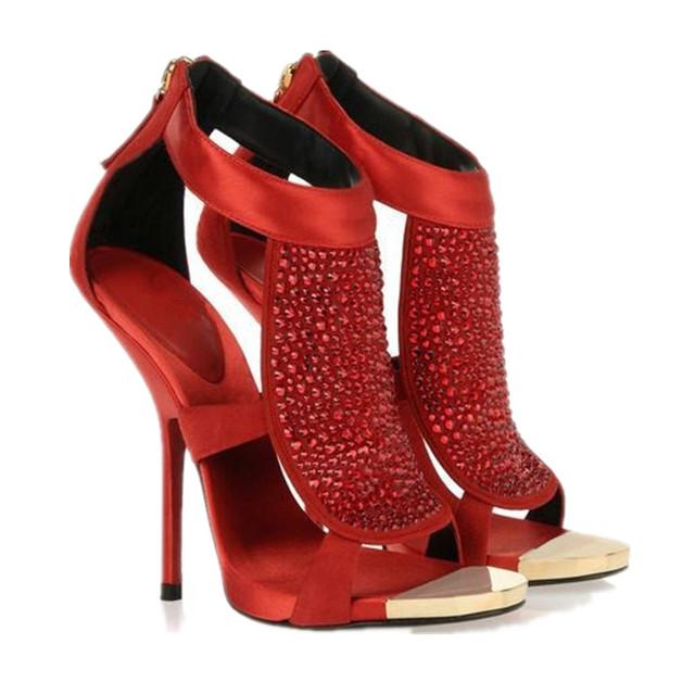 Zapatos de Tacón Alto de Las Mujeres de moda Cremallera Sadin Hotfix Rhinestone Boca de Los Pescados Sandalias Huecos Zapatos de Tela de Gamuza