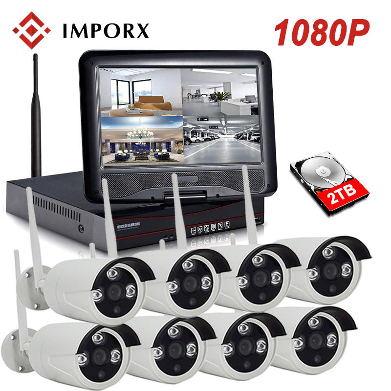 1080P 8CH Wireless NVR Kit 10LCD Monitor IR Night Vision 2MP Home Security CCTV IP Camera Outdoor Wifi Surveillance System Kit