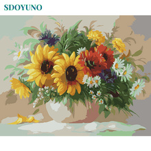 SDOYUNO 50x65cm sunflower Painting By Numbers Flowers DIY Frameless Wedding Decoration Modern Wall Art for Home Decor Canvas