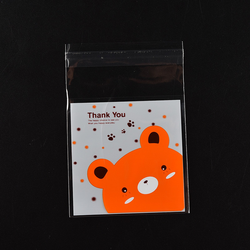 Office & School Supplies Clever Food Packaging Bags Cookie Mini Bear Print Self-adhesive Plastic Candy Cake Cookies Bags Gifts Bags Stationery Holder 100pcs A Great Variety Of Goods