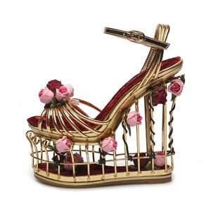 Image 2 - Phoentin gold flower sandals women super high heel 16cm platform wedding shoes ankle strap buckle luxury party shoes woman FT337