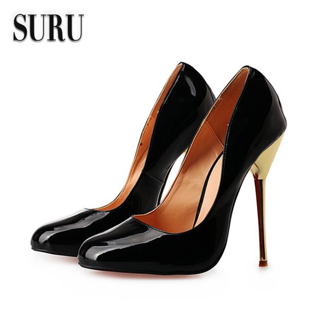 SURU-mujeres de gran tamaño de los zapatos, ruso tamaño 40-48, tacones altos tacones de aguja HSMA4