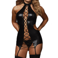 3XL 5XL Plus Size Lingerie Sex Costumes Women Black Leather Erotic Lingerie Sexy Underwear Porn Teddy