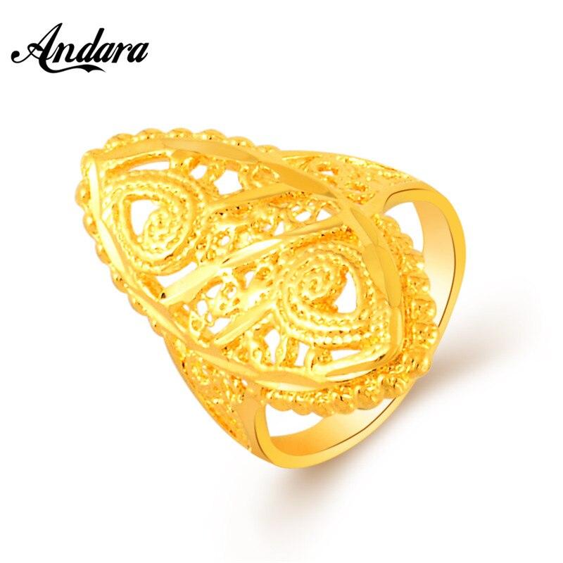 Andara Dubai Gold Ring 24K Gold Color Engagement Women Men Finger ...