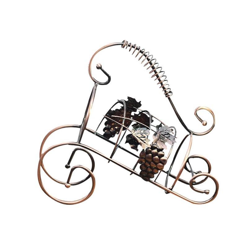 Wine Holder Vintage Wine Rack Metal Craft Bronze Wine Stand Wine Bottle Display Holder Kitchen Goods Decoration Accessories