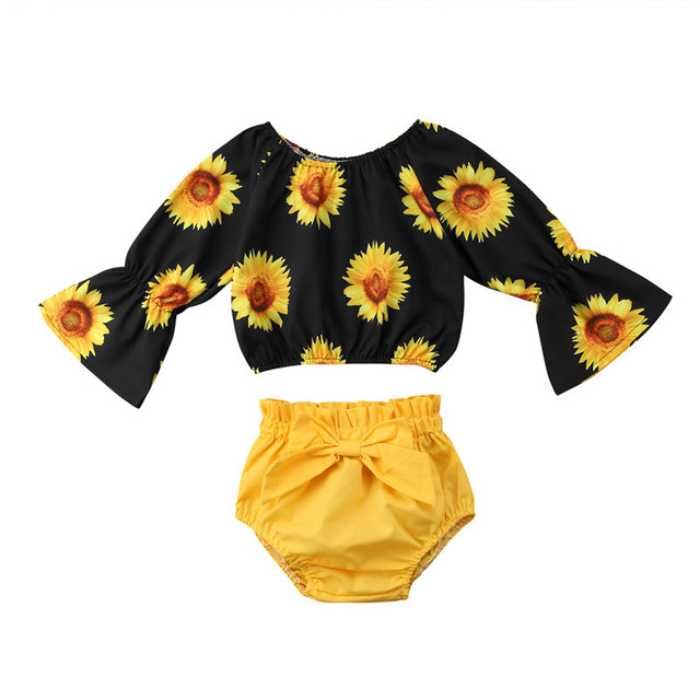 f68be39b23554 Summer Toddler Kids Baby Girls Sunflower Crop Tops Bow Shorts Yellow  Outfits Sets Children's Clothes 6M-5Y