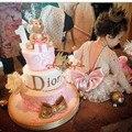 2016 Blings Luxo Cristais champagne/rosa Mangas Compridas Vestidos de Aniversário Do Bebê Do Laço Da Menina de Flor pageant evening party dress