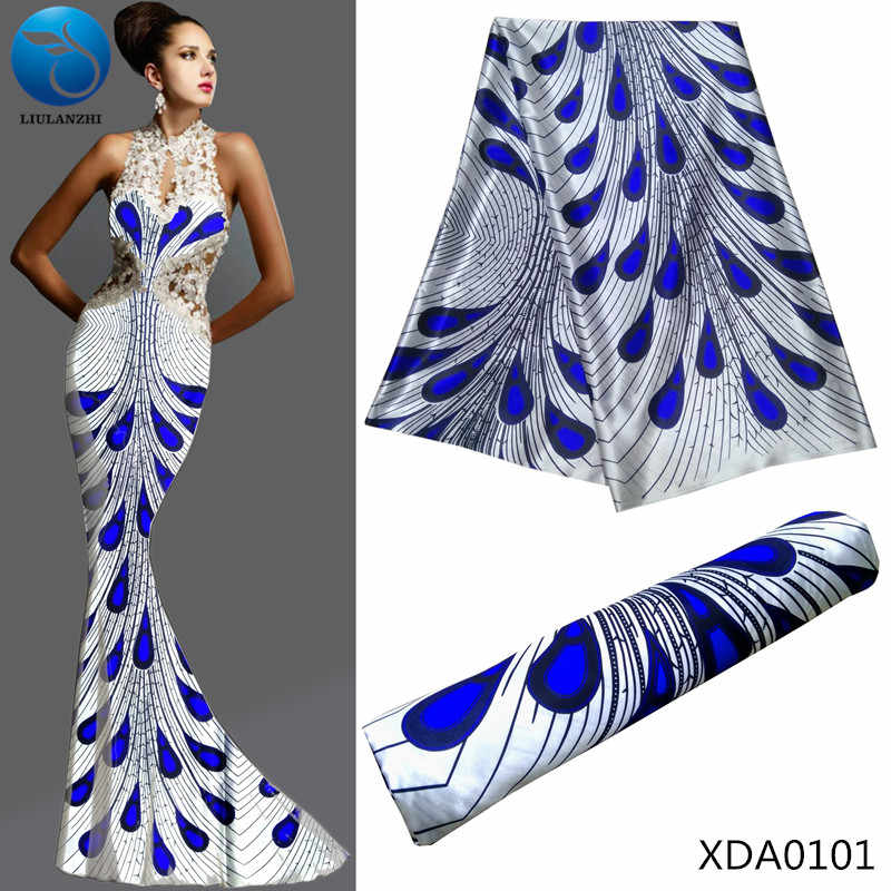 967c6945c62b4 LIULANZHI African fabrics white satin fabric with blue pattern design 2018  New arrival africsn satin fabric for dress XDA01