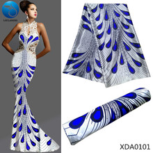 LIULANZHI African fabrics white satin fabric with blue pattern design 2018 New arrival africsn for dress XDA01