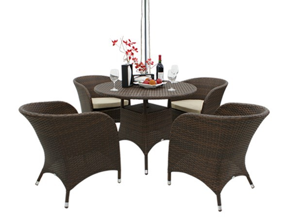 Outdoor Wicker Dining Table Set Patio Furniture with 4 Chairs
