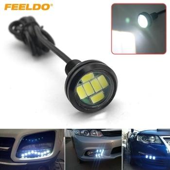 FEELDO 50pcs White 4W 23mm Lens Ultra-thin 5630 6SMD LED Eagle Eye Tail light Backup Rear Lamp DRL Light  #CA1424