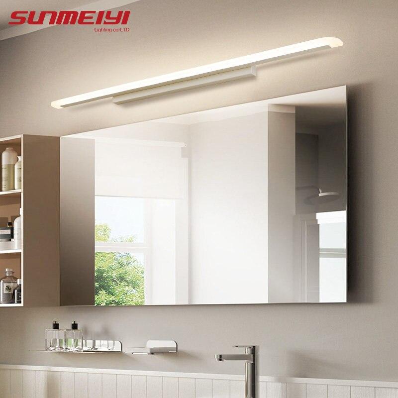 Acrílico moderno led frente espelho luz do banheiro maquiagem lâmpadas de parede led vaidade banheiro fixado na parede arandelas luminária