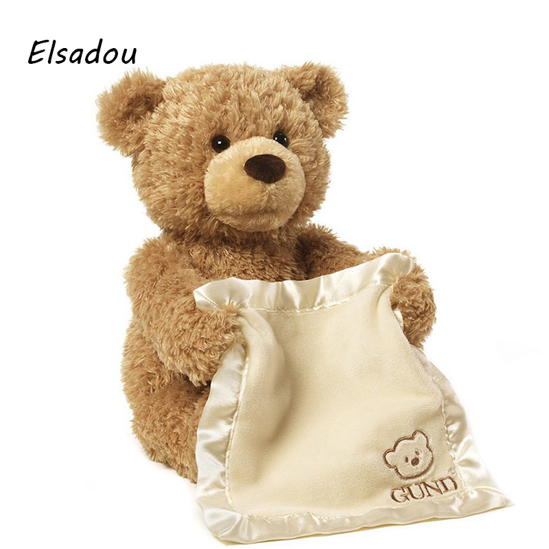 Elsadou 30cm Peek a Boo Teddy Bear lay Hide and Seek Cartoon Plush Toy Cute Music Bear Doll Best Christmas Gift 30cm peek a boo elephant plush toy stuffed animal music elephant doll play hide and seek lovely cartoon toy for kids baby gift