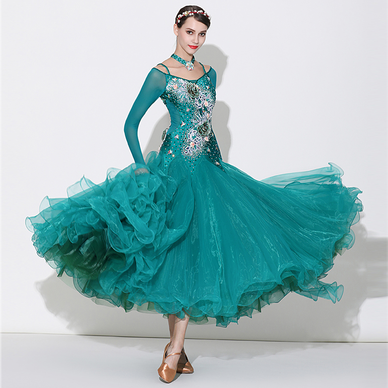 New Rhinestones Ballroom Dance Dress Women Lady'S Waltz Ballroom Competition Dance Dress Long Sleeve Standard Dancing Dresses