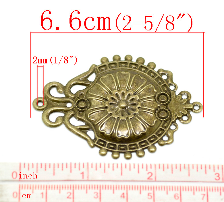 Bronze Tone Hollow Filigree Flower Wraps Findings Connnector Embellishments 57mm