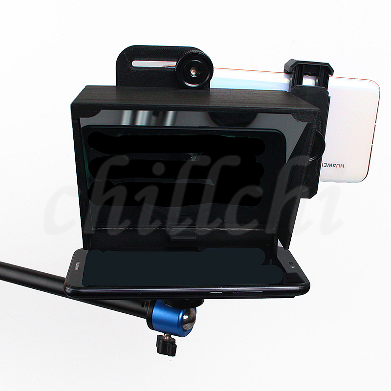 Upgrade Mobile Teleprompter Video Host Anchor Speech Teleprompter with controller and adapter rings