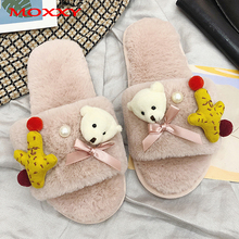 Womens Cute Bear Furry Slippers Ladies Plush Fluffy Slipper Women Fur Winter Flat House Indoor Home Slide