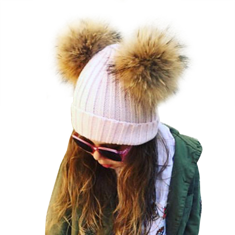 Double Real Raccoon Fur Hat Kids Winter Hat Boys Girls ...