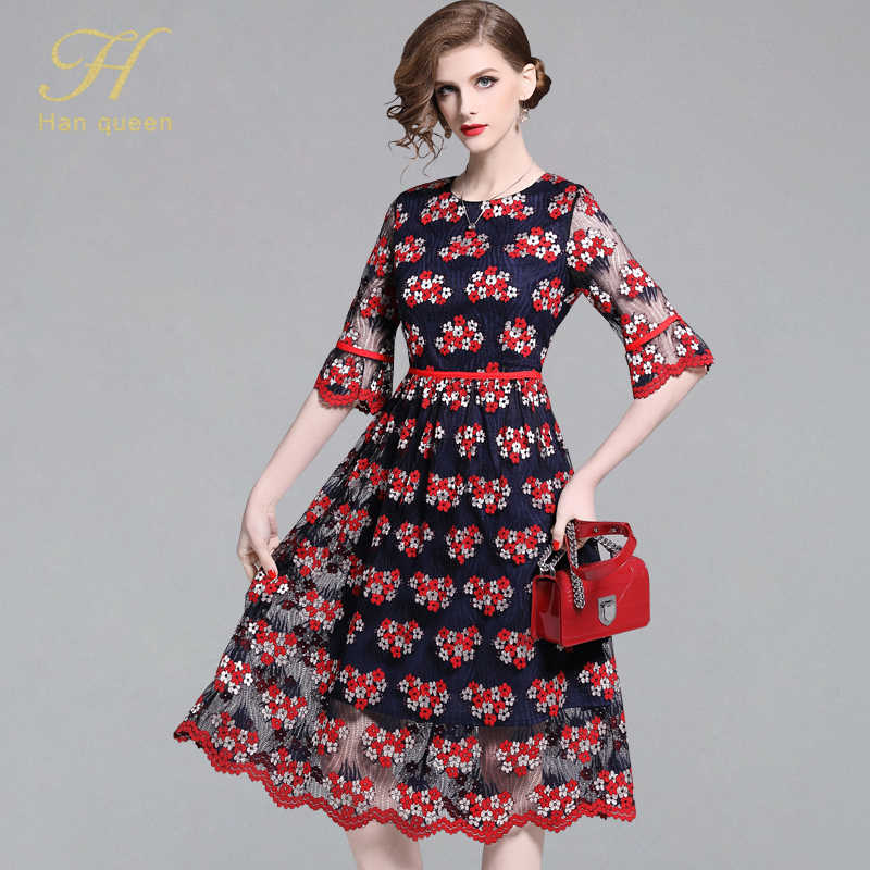 H han queen, женские кружевные платья, элегантные, тонкие, выдалбливают, винтажные, длинные, Vestido, одежда для работы, офиса, бизнеса, повседневное, вечернее платье