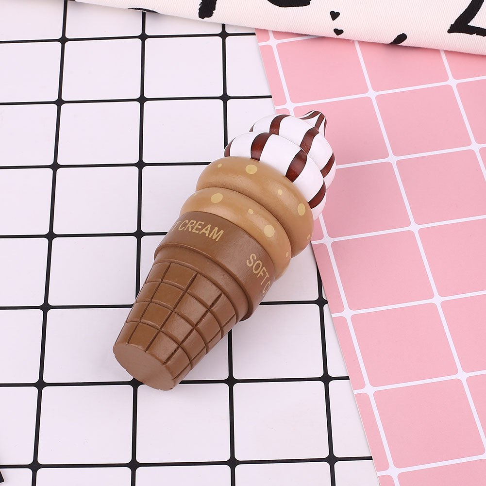 Simulation DIY Magnetic Ice Cream Shape Wooden Toy Baby Play House Toy Gift