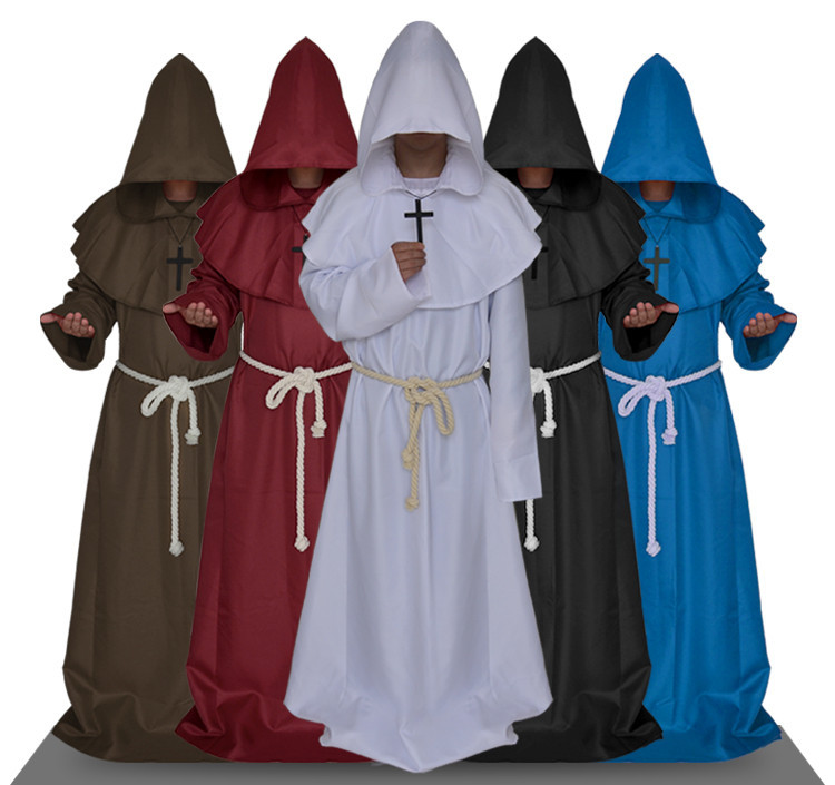 Halloween Comic Con Party Cosplay Costume Monk Hooded Robes Cloak Cape Friar Medieval Renaissance Priest Men For Men
