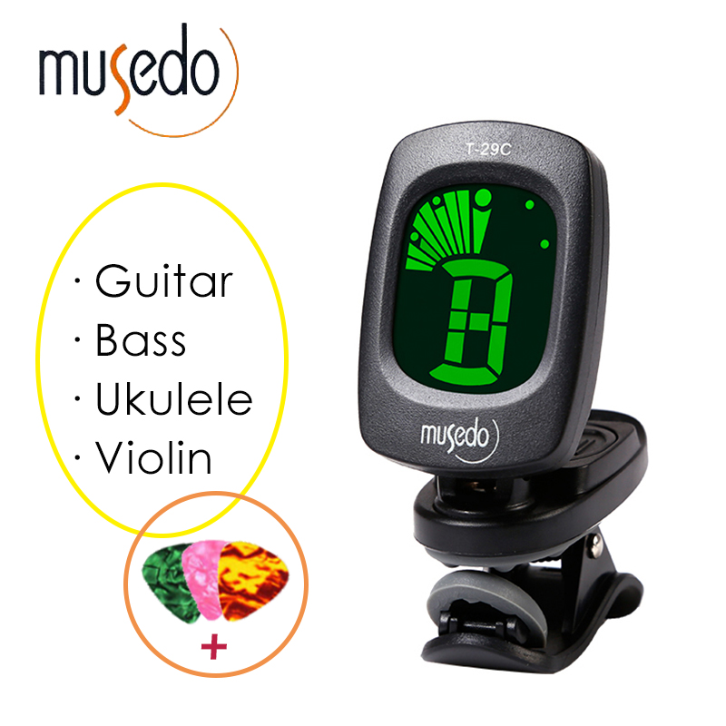 Musedo Clip-on Chromatic Universal Digital Tuner LCD Display Rotatable Guitar Tuner Clip for Guitar,Bass, Violin,Ukulele