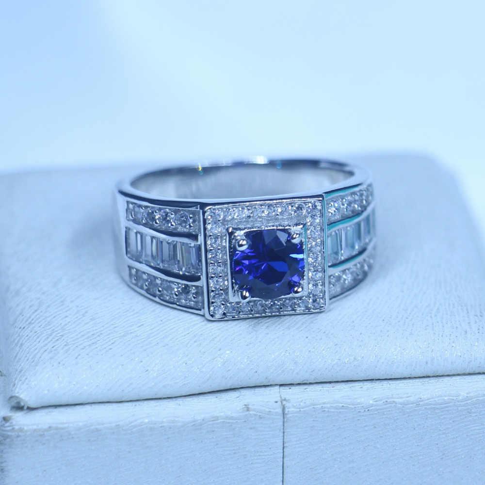 Настоящее мужское ювелирное однотонное 925 пробы Серебряное женское кольцо 1ct камень по месяцу рождения 5A камень циркон AAA Cz вечерние обручальное кольцо для мужчин