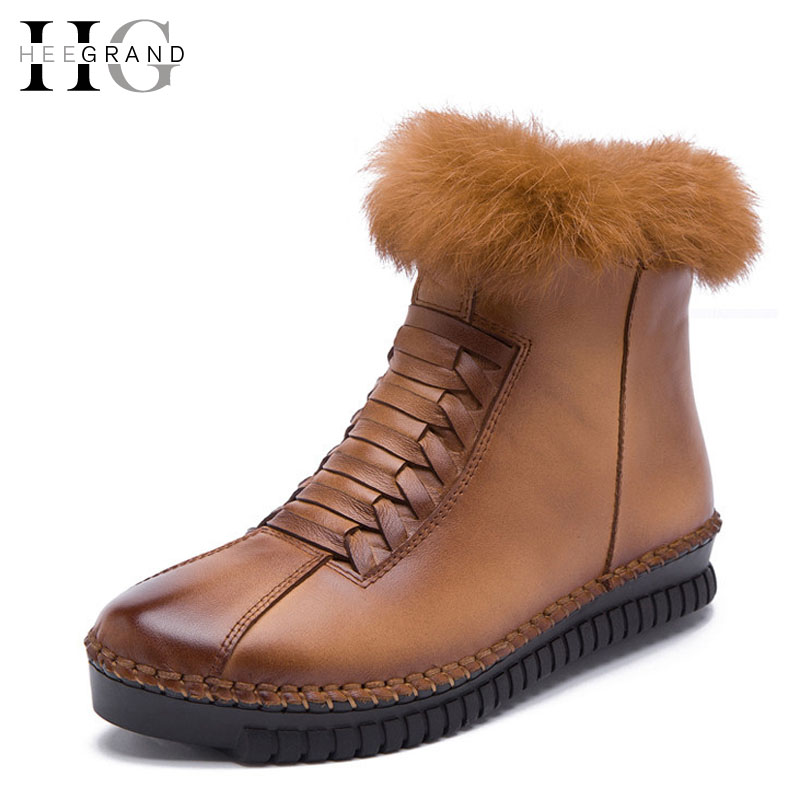 HEE GRAND Genuine Leather Women Boots Platform Zip Winter Ankle Boots Short Plush Casual Women Flats