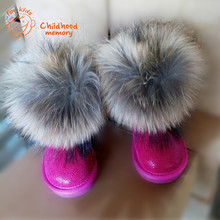 Real Fox Fur Baby Snow Boots Genuine Cowhide Winter Shoes Baby Boys Baby Girls Nature Leather Boots Waterproof Chaussure Enfant