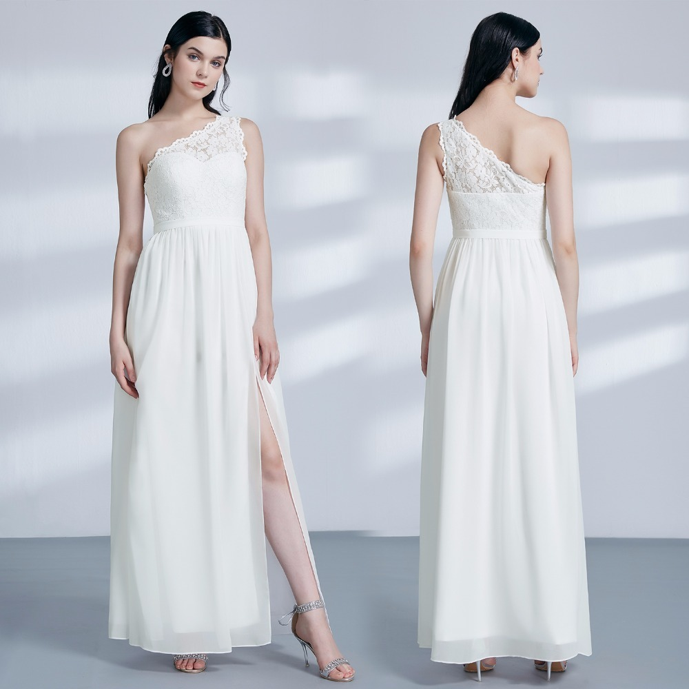 Ever-Pretty Lace Bridesmaid Dresses One Shoulder Sleeveless Wedding ...