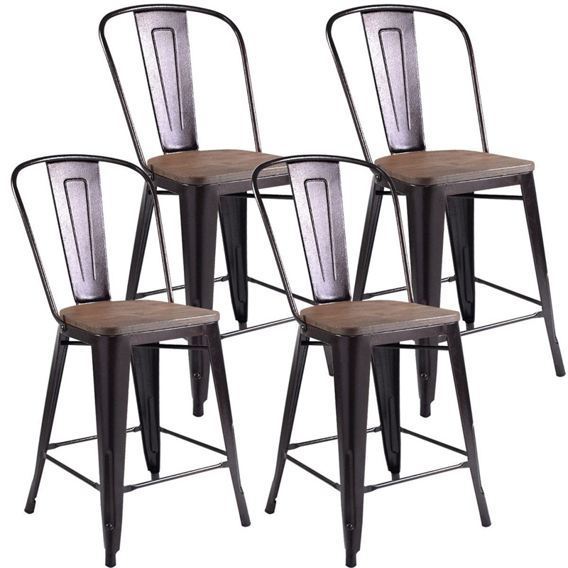Set Of 4 Rustic Metal Wood Bar Chairs Modern Counter-height Stools Set For Pub Or Kitchen HW53837CP