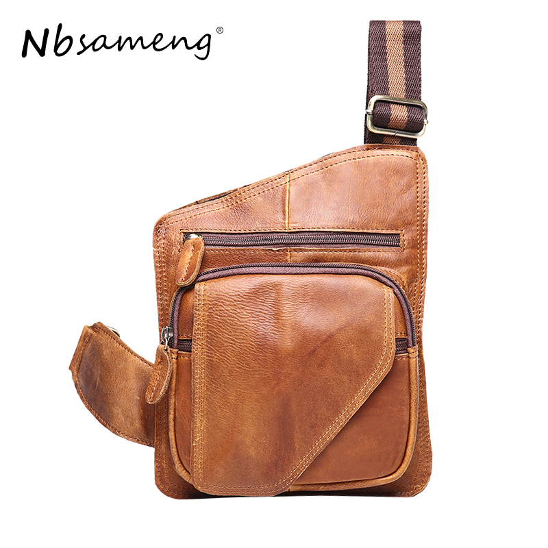 NBSAMENG Genuine Leather Vintage Men Chest Pack Bag Single Shoulder Strap BackBag Travel Men Crossbody Bags