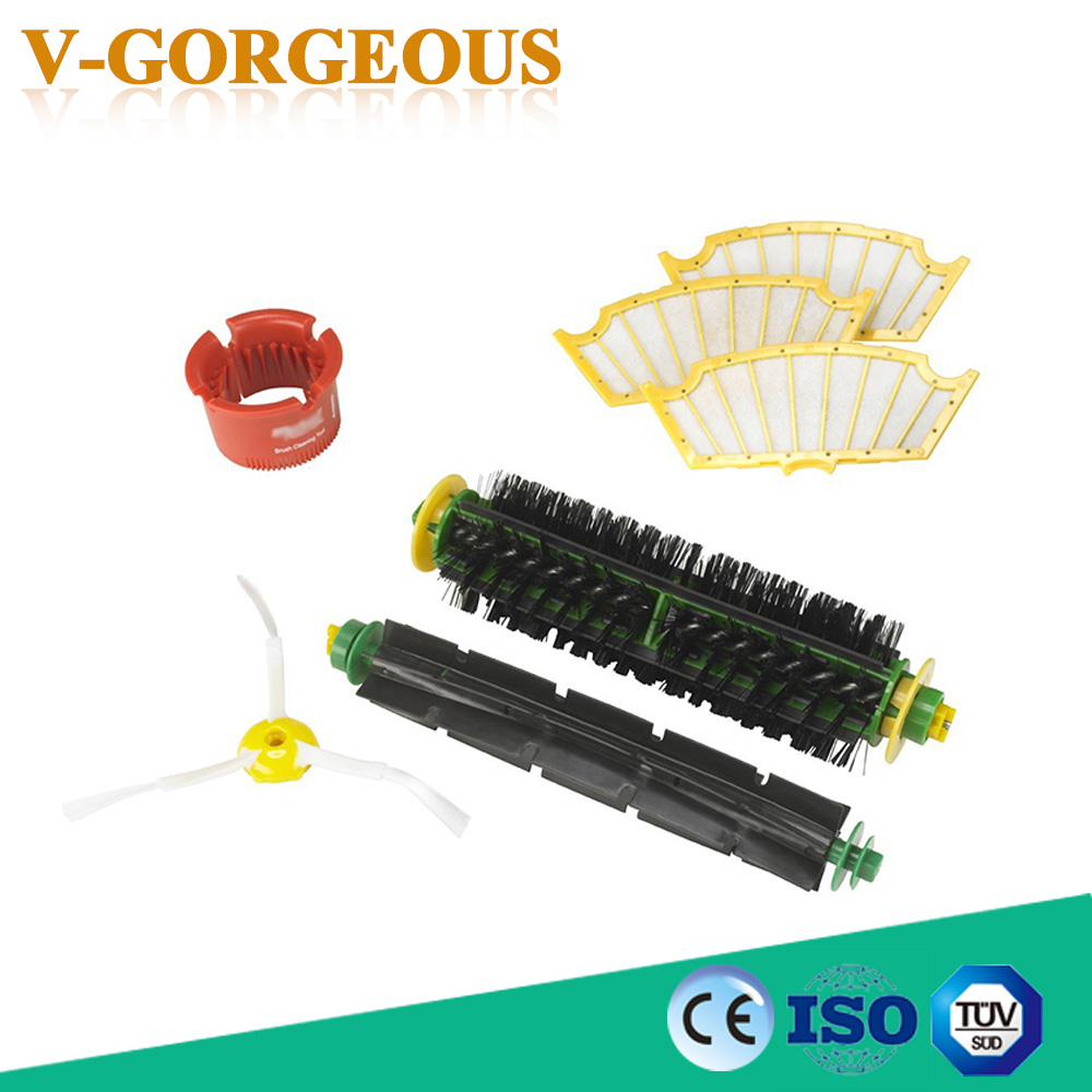 Side Brush + Filter Kit Vacuum Cleaner Parts For Irobot Roomba 500 527 528 530 532 535 540 562 570 572 580 581 590 Replacement vacuum cleaner accessory kit roomba 500 551 536 accessory kit replacement includes 1 battery 3 side brush 3 filters